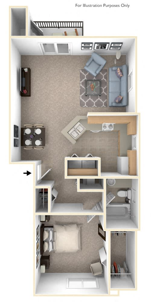 One Bedroom End Floor Plan at Trillium Pointe Apartment Homes, Michigan, 49201