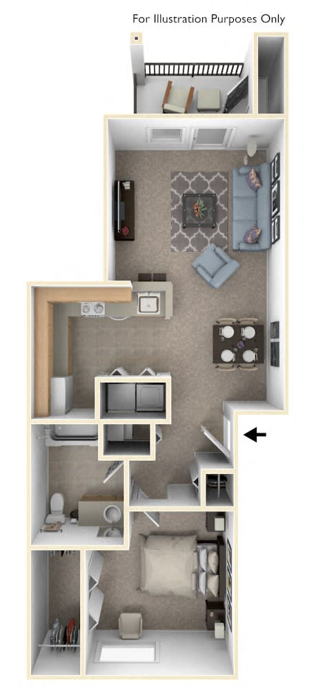 Traditional One Bedroom Floor Plan at Trillium Pointe Apartment Homes, Jackson