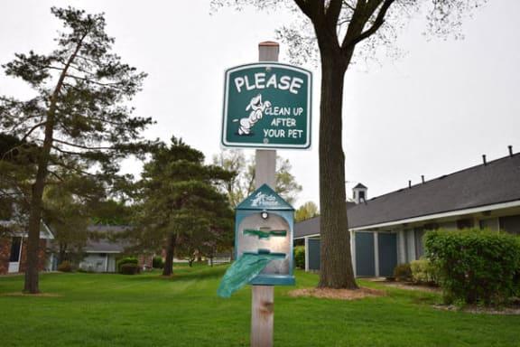 Convenient Pet Waste Stations at Newport Village Apartments in Portage, MI 49002