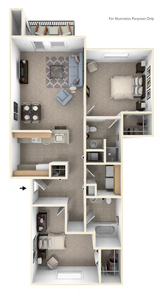 Two Bedroom Floor Plan at West Hampton Park Apartment Homes, Elkhorn, NE, 68022