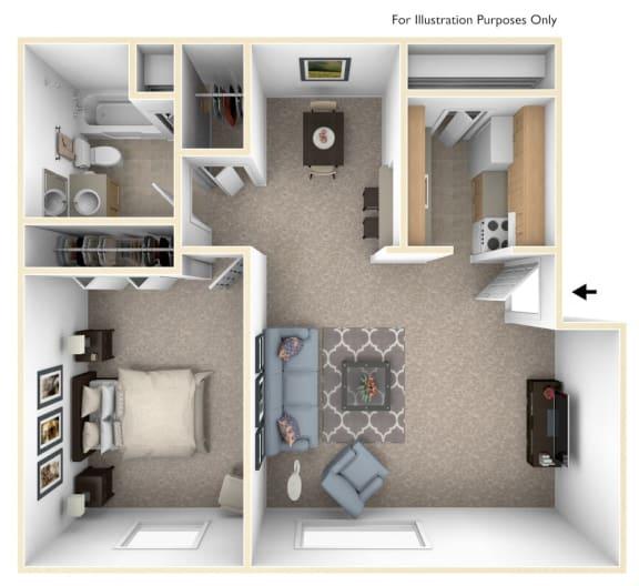One Bedroom - Modified Floor Plan at Wood Creek Apartments, Kenosha, Wisconsin