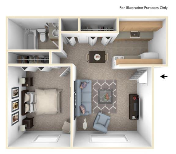 One Bedroom - Standard Floor Plan at Wood Creek Apartments, Kenosha