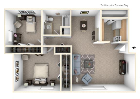 Two Bedroom - Modified Floor Plan at Wood Creek Apartments, Kenosha