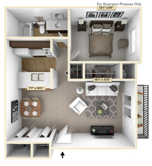One Bedroom Cypress Floor Plan at Thornridge Apartments, Michigan