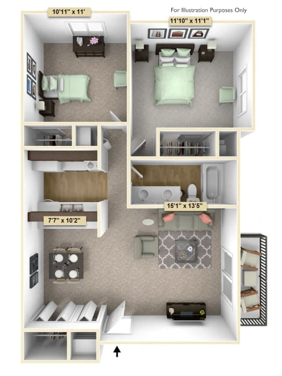 Two Bedroom Cypress Floor Plan at Thornridge Apartments, Michigan, 48439