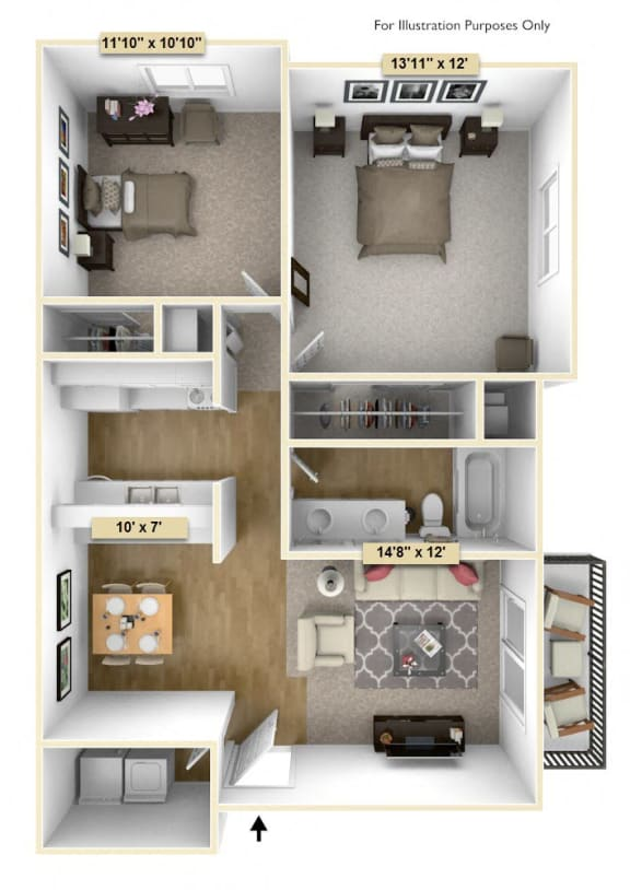 Two Bedroom Pine Floor Plan at Thornridge Apartments, Grand Blanc, 48439