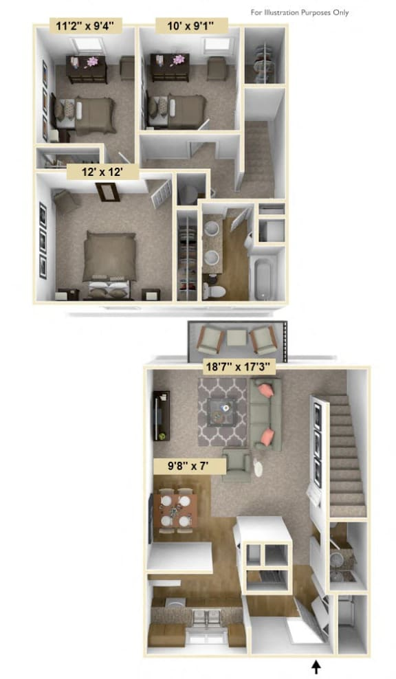 Three Bedroom Rose Floor Plan at Shannon Manor Townhouses, Davison, MI, 48423