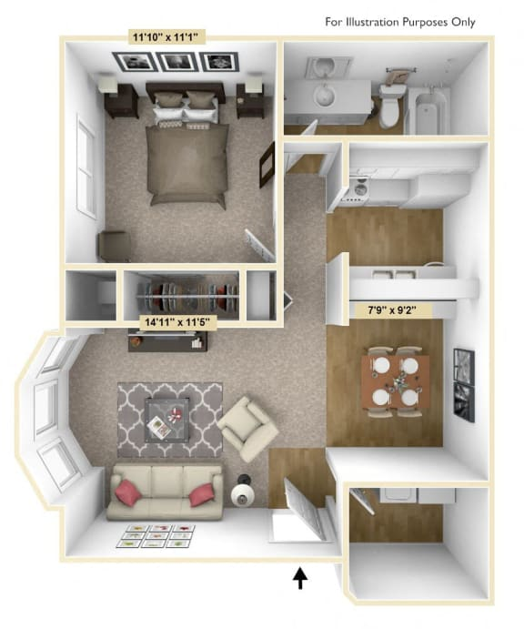 One Bedroom Mulberry Floor Plan at Tanglewood Apartments, Oak Creek, WI