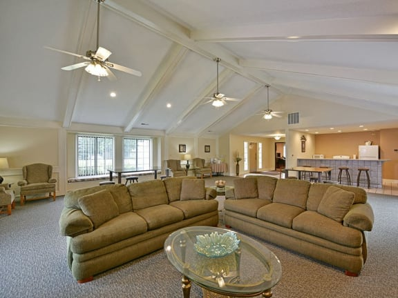 Large clubhouse with kitchen at Tanglewood Apartments in Oak Creek, WI