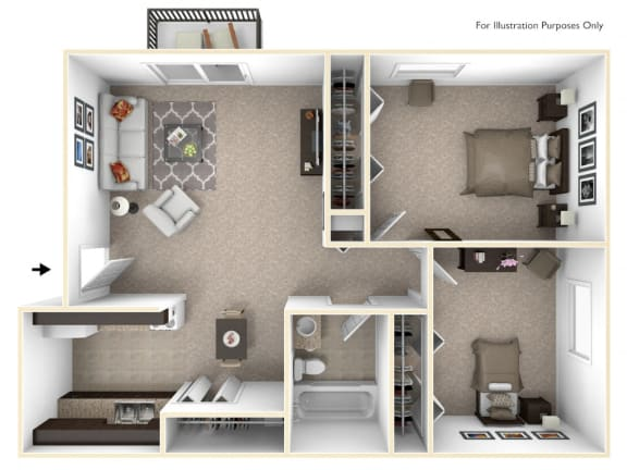 2-Bed/1-Bath, Marigold Floor Plan at Eastgate Woods Apartments, Ohio