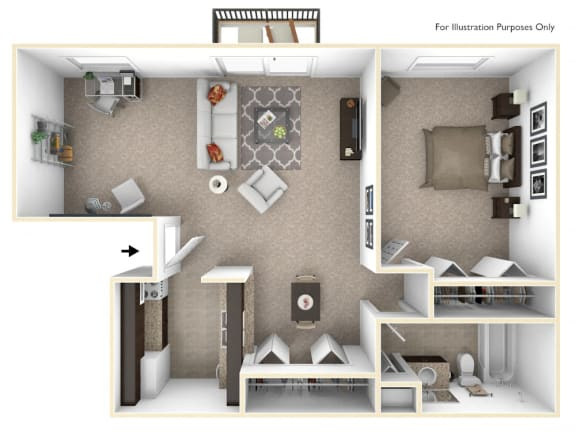 1-Bed/1-Bath, Primrose Deluxe Floor Plan at Eastgate Woods Apartments, Batavia, 45103