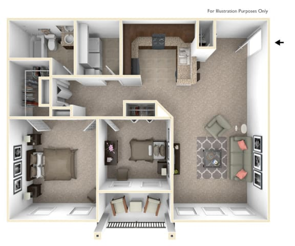 2-Bed/1-Bath, Candace Floor Plan at Irene Woods Apartments, Collierville