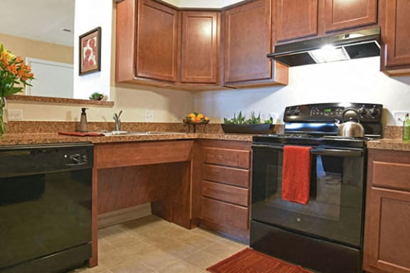 Well Equipped Kitchens with black GE Appliances at Irene Woods Apartments, Collierville
