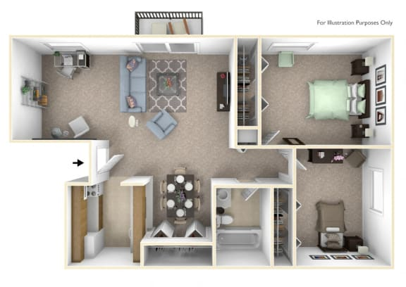 2-Bed/1-Bath, Marigold Deluxe Floor Plan at Lake in the Pines, Fayetteville