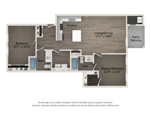 Premier 2 BR 2 BA Floor Plan at Emerald Creek Apartments, Greenville, SC