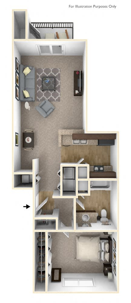 1-Bed/1-Bath, Erie Floor Plan at River Hills Apartments, Wisconsin