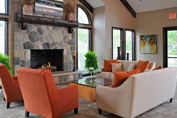 Cozy Clubhouse Fireplace Seating at Southport Apartments, Belleville