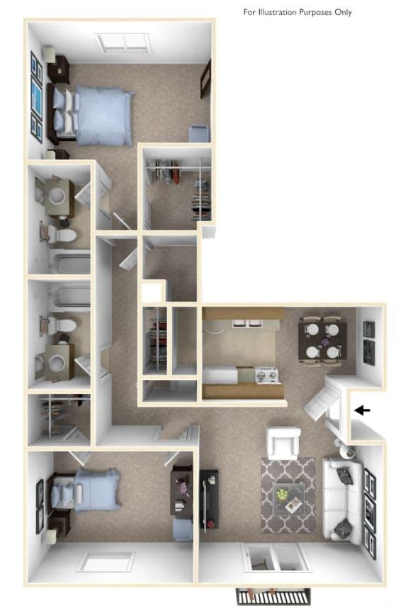 2-Bed/2-Bath, Archangel Floor Plan at Stone Ridge, Wixom, Michigan