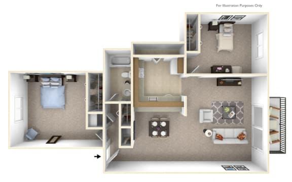 2-Bed/1-Bath, Constantia Floor Plan at Stone Ridge, Wixom, MI, 48393