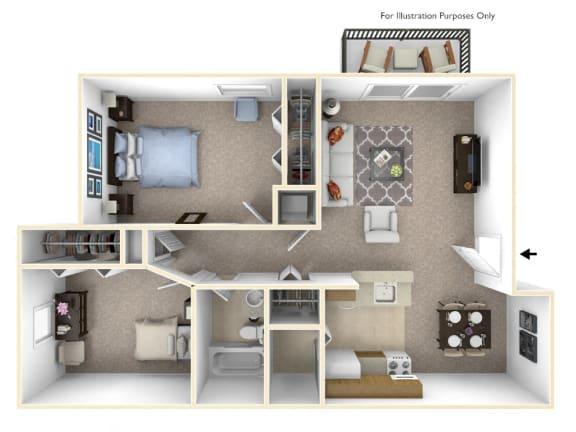 2-Bed/1-Bath, Iris Floor Plan at Stone Ridge, Wixom, Michigan