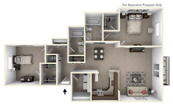 2-Bed/2-Bath, Buttercup Floor Plan at The Harbours Apartments, Clinton Twp, 48038