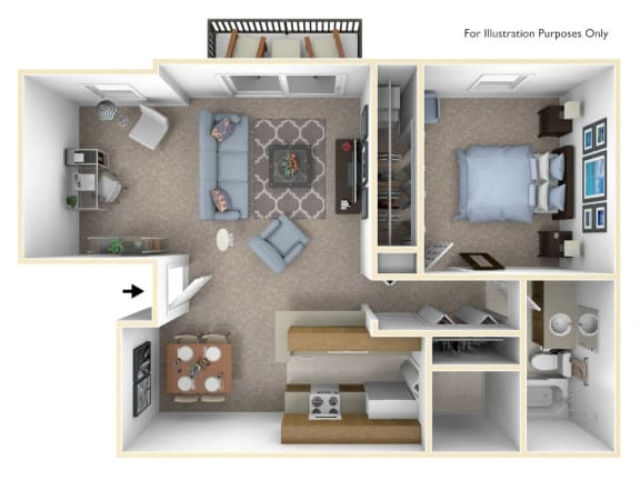 1-Bed/1-Bath, Bluebell Deluxe Floor Plan at Windemere Apartments, Farmington Hills