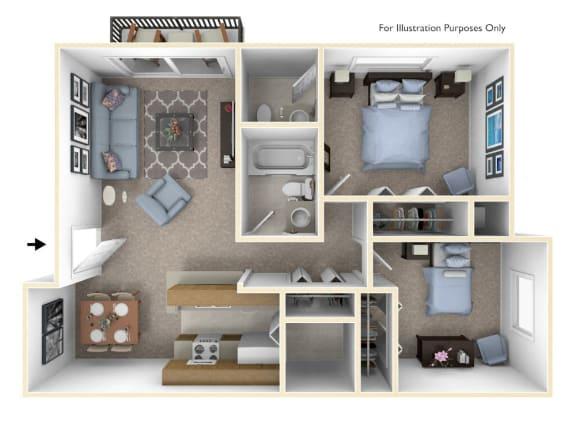 2-Bed/1.5-Bath, Snapdragon Floor Plan at Windemere Apartments, Farmington Hills, Michigan