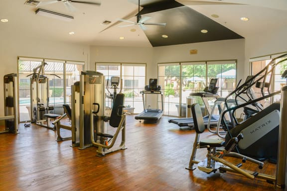 Gym with Exercise and Cardio Machines at Best Apartments in Tucson Arizona