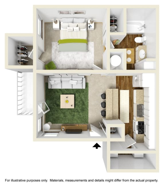 The Spruce Floor Plan at Willow Ridge Apartments, Charlotte, 28210
