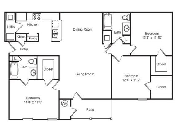 Three Bedroom, Two Bathroom Floor Plan