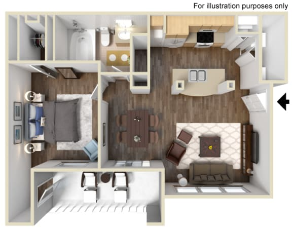 One Bed One Bath Floor Plan at Manzanita Gate Apartment Homes, 2475 Robb Drive, NV