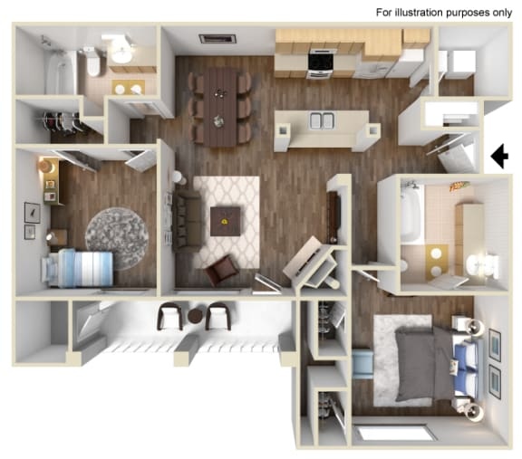 Floor Plan  The Plumas Floot Plan at Manzanita Gate Apartment Homes, 2475 Robb Drive