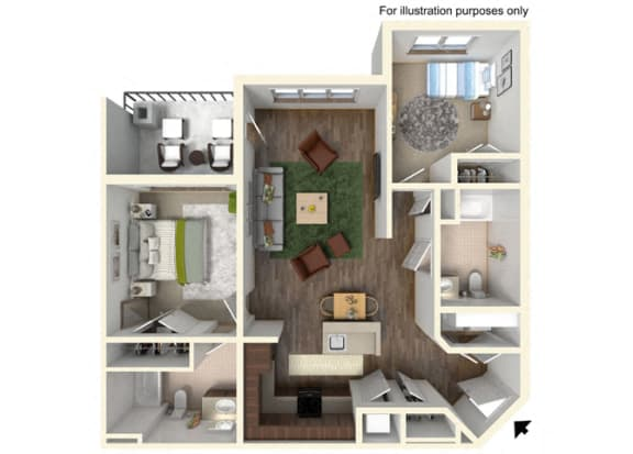 Floor Plan  2 Bedroom, 2 Bathroom Floor Plan 2A - 975 square feet, opens a dialog