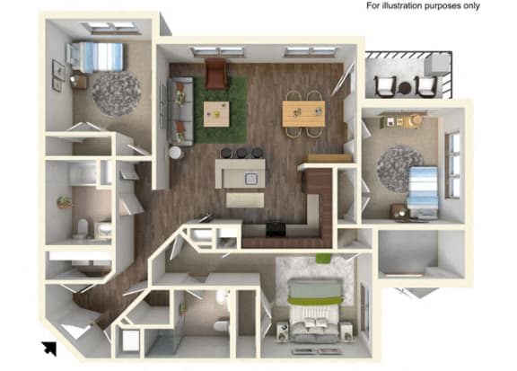 Floor Plan  3 Bedroom, 2 Bathroom Floor Plan 3A - 1168 square feet, opens a dialog