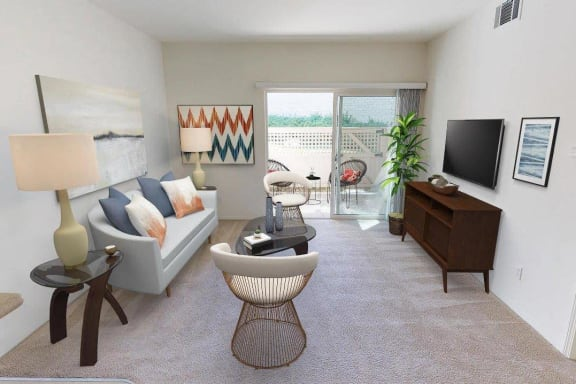 Classic Living Room Design With Television at Knollwood Meadows Apartments, California, 93455