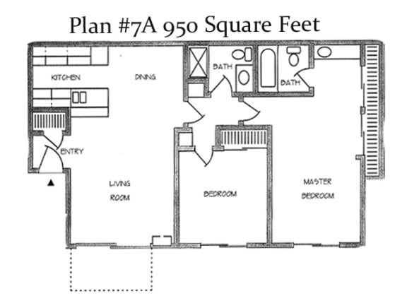 2_Bedroom_2_Bath Floor Plan at Charter Oaks Apartments, Thousand Oaks, CA