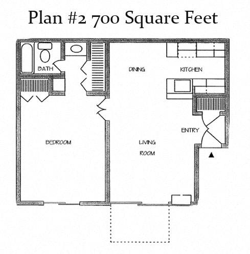 700 Sq.Feet Floor Plan2 at Charter Oaks Apartments, Thousand Oaks