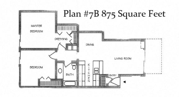 875 Sq.Feet Floor Plan at Charter Oaks Apartments, California