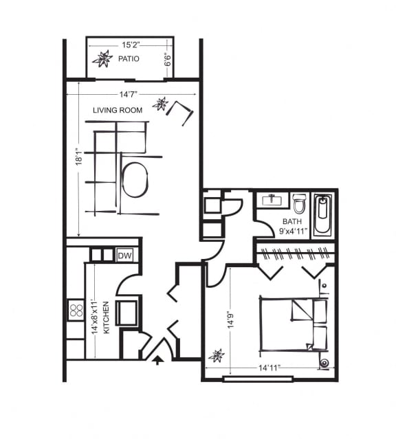 Floor Plan  One Bedroom FloorPlan at Wilbur Oaks Apartments, Thousand Oaks, CA, 91360