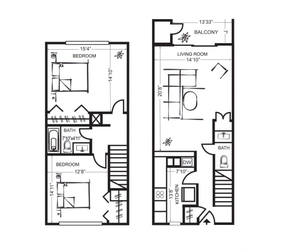 Two Bedroom Townhome Floorplan at Wilbur Oaks Apartments, Thousand Oaks, 91360