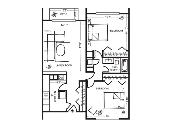 Floor Plan  Two Bedroom Floorplan at Wilbur Oaks Apartments, Thousand Oaks, CA