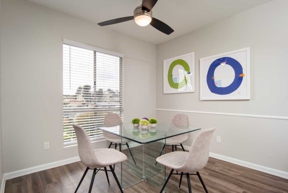 Ceiling Fan, Dinning Table in Living Room at Los Robles Apartments, California, 91101