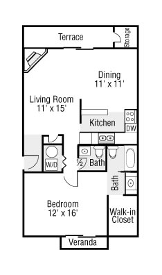 Large One Bedroom 1.5 Baths