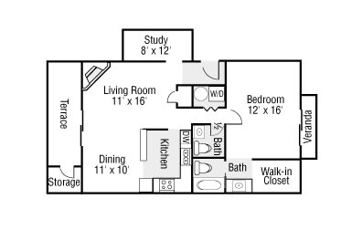 One Bedroom, 1.5 Baths and Study