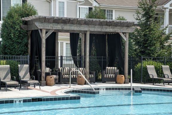 Poolside Sundeck and Lounge at Farmington Lakes Apartments Homes, Oswego, IL, 60543