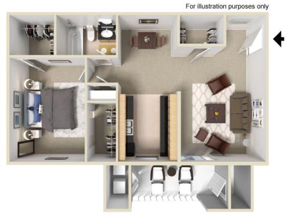 Floor Plan  1 Bed 1 Bath Floor Plan at Vizcaya Hilltop Apartments, Reno, NV