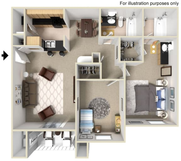 Floor Plan  2 Bed 2 Bath Floor Plan at Vizcaya Hilltop Apartments, NV, 89523