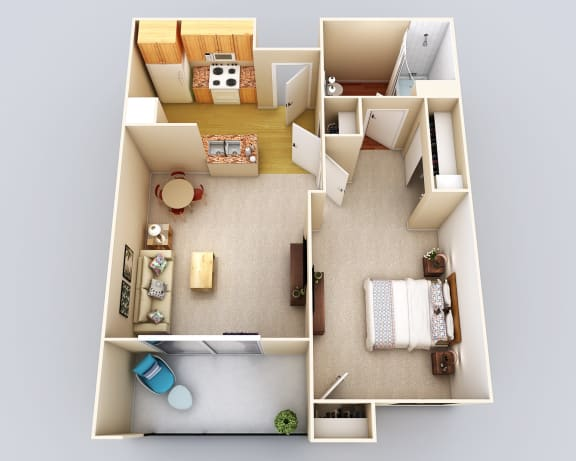 Floor Plan  Bermuda 1Bath1Bed Floor Plan at 55+ FountainGlen Grand Isle, California