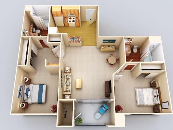 Emerald 2Bed2Bath Floor Plan at 55+ FountainGlen Grand Isle, Murrieta, California