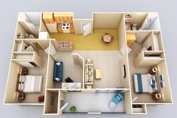 Grand Cayman 2Bed2Bath Floor Plan at 55+ FountainGlen Grand Isle, Murrieta, CA